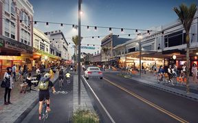 An artist's impression of possible the future design on Karangahape Road between Pitt Street and Queen Street.
