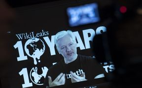 Julian Assange spoke at an event celebrating 10 years of WikiLeaks in Berlin, via video link from Ecuador's embassy in London, where he has taken refuge since 2012.