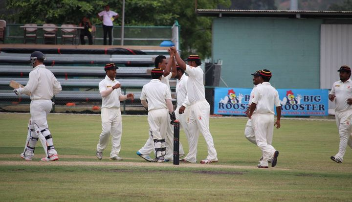 PNG celebrate a wicket on day two against Namibia.