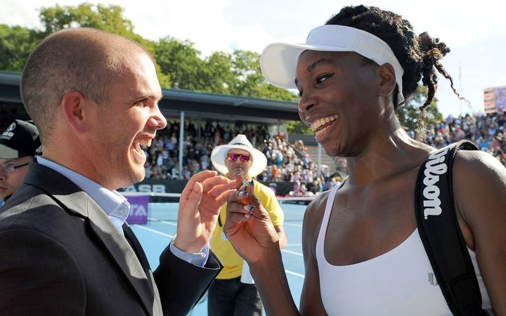 ASB Classic Tournament director Karl Budge and Venus Williams