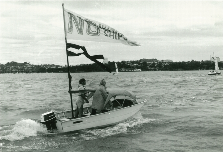 In a small aluminium boat, Peace Squadron founder George Armstrong leads the flotilla on a protest in 1979.