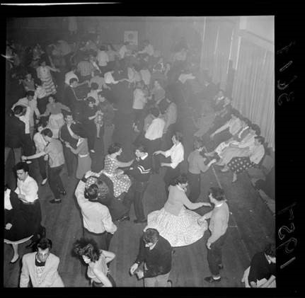 Rock and roll dancers at Youth Club, Taita, Lower Hutt. (Evening post)