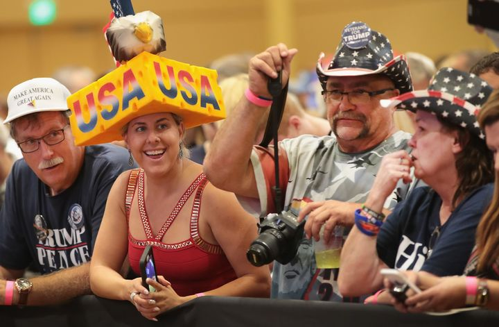 Supporters wait for the start of a campaign rally with Republican presidential nominee Donald Trump at the KI Convention Center on October 17, 2016 in Green Bay, Wisconsin.