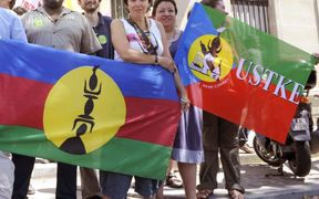Supporters of New Caledonia's USTKE union
