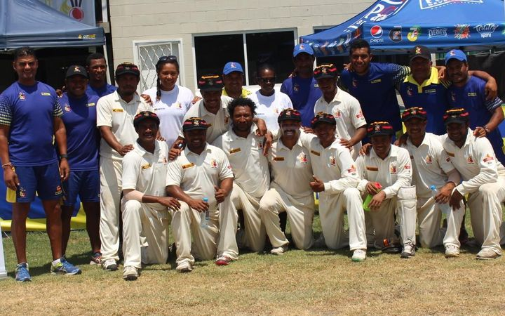 Papua New Guinea celebrate their Intercontinental Cup win against Namibia.