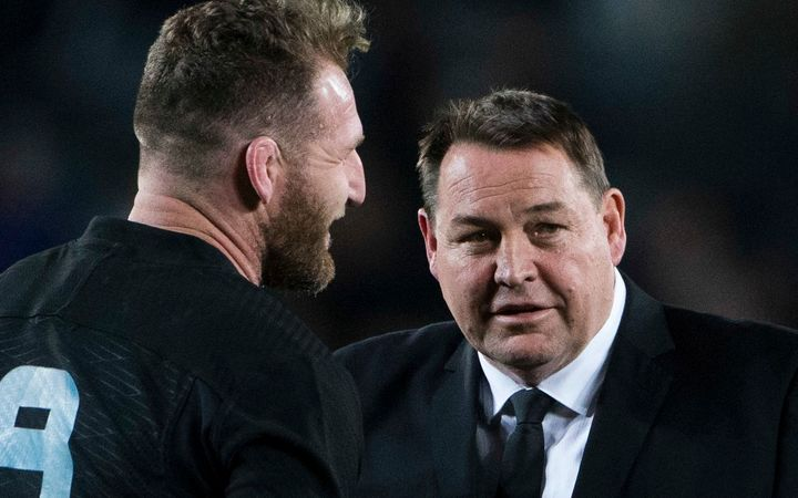 Steve Hansen and Kieran Read celebrate the All Blacks' win over the Wallabies.