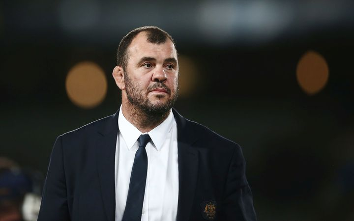 Wallabies head coach Michael Cheika after the Bledisloe Cup defeat by the All  Blacks at Eden Park.