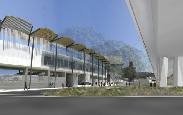 An artist's impression of the external view of the Basin Reserve's Northern Gateway building looking up Ellice Street.