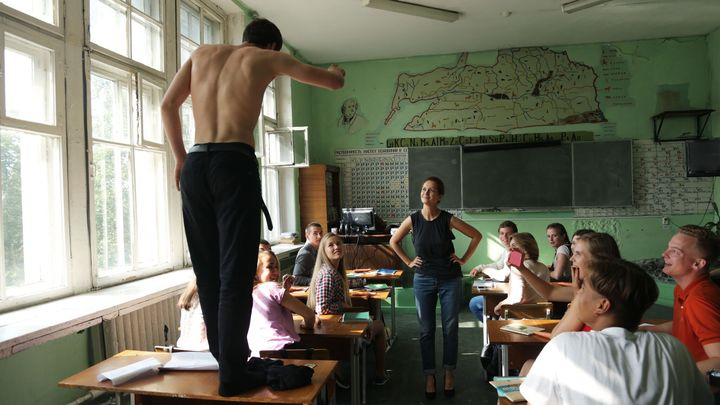 Ardent young school student Pyotr Skvortsov makes a point to his classmates in The Student.