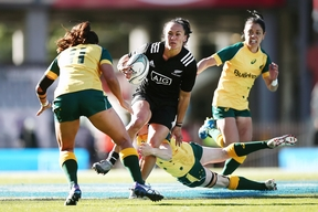 Portia Woodman in action for the Black Ferns against the Wallaroos in their first Test in October 2016