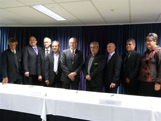 Far North iwi leaders and Government agency officials sign the Social Accord in Wellington.