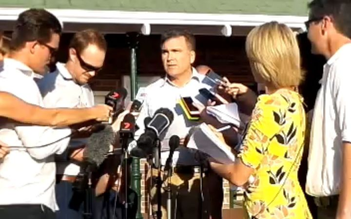 Dreamworld chief executive Craig Davidson speaks to media after an accident at the theme park claimed four lives.