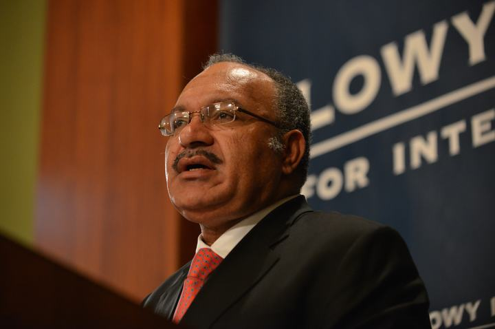 Papua New Guinea Prime Minister Peter O'Neill gives a talk at the Lowy Institute in Sydney on May 14, 2015