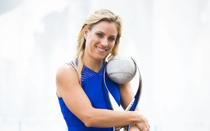 German tennis player Angelique Kerber with her US Open trophy 2016.