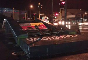 A supermarket sign was toppled onto a carpark in Johnsonville.