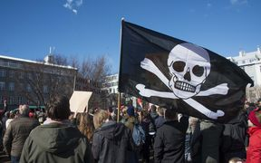 "Thousands of Icelanders rallying in Reykjavik on April 9 to demand immediate elections on a sixth consecutive day of anti-government protests over the ""Panama Papers"" revelations, which caused the Prime Minister's resignation."