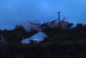 A storage shed in Grenada North was severely damaged.