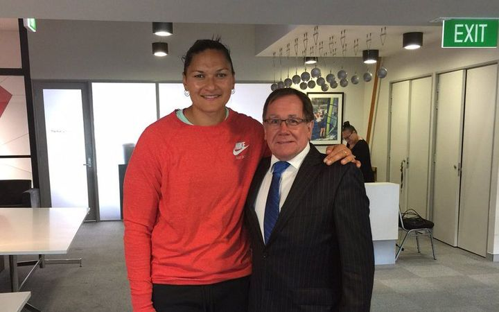Valerie Adams and Murray McCully.