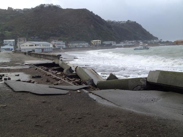 The sea wall at Island Bay in Wellington was smashed.