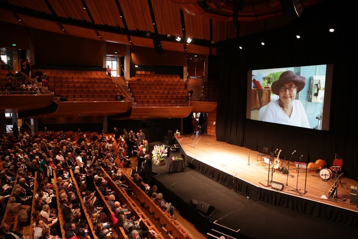 Helen Kelly is farewelled at a public memorial at the Michael Fowler Centre in Wellington