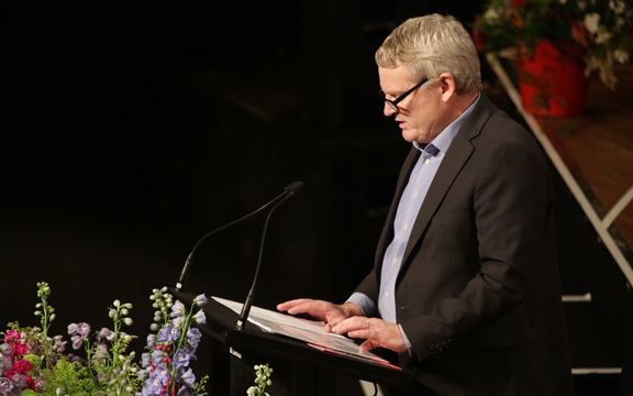 Helen Kelly's partner Steve Hurring at her memorial service in Wellington.