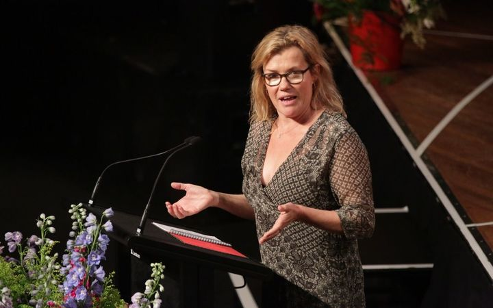 Actress Robyn Malcolm speaks the Helen Kelly memorial service.