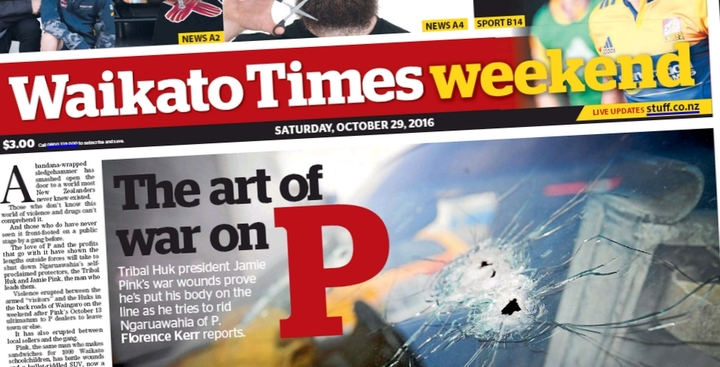 "Ngaruawahia's ""war on P"" occupies the front page of The Waikato Times again."