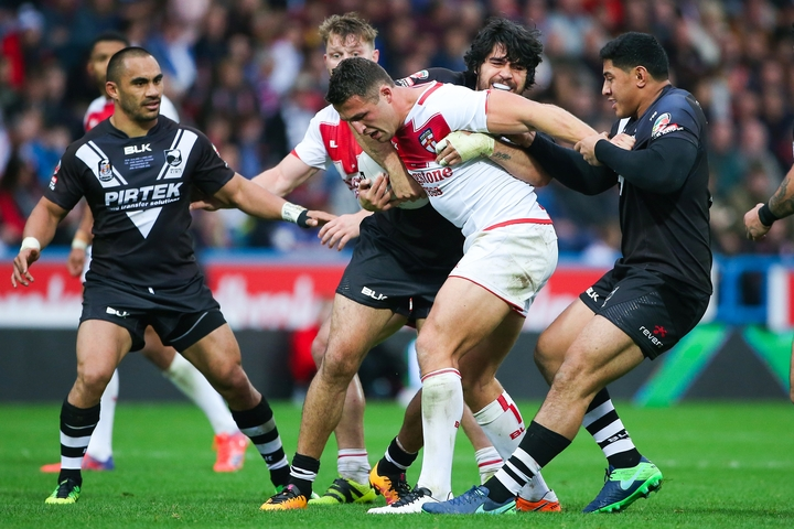 England captain tackled during Four Nations Test against New Zealand