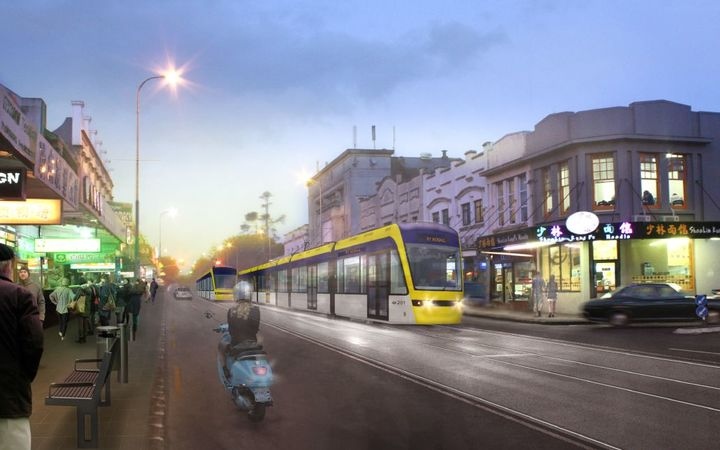 Auckland Transport's artists visualisations for the proposed light rail service.