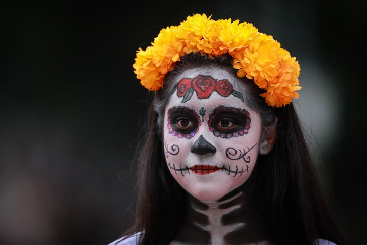 a woman dressed as catrina mexicos skeleton lady in mexico city on 23 october