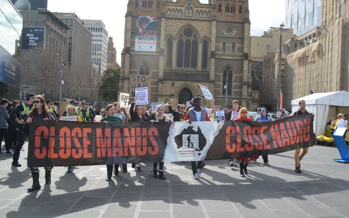 Protesters call for immigration detention centers on Nauru and Manus Island to close in Melbourne, in August 2016.