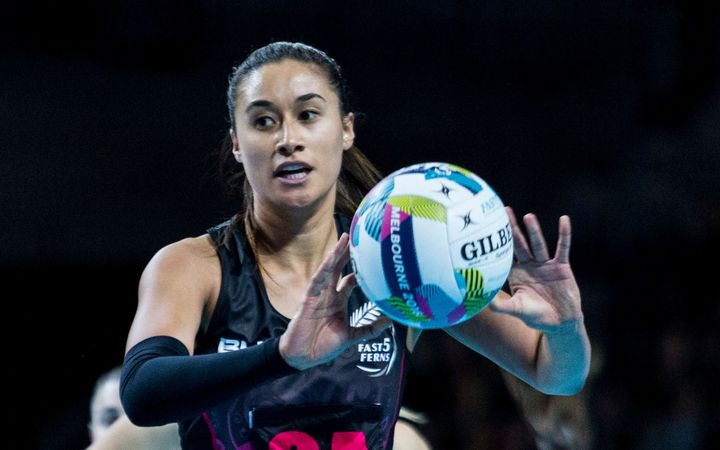 Maria Tutaia passes the ball during the Fast5 Netball world series match between New Zealand Silver Ferns and Australia at Hisense Arena Melbourne Australia.
