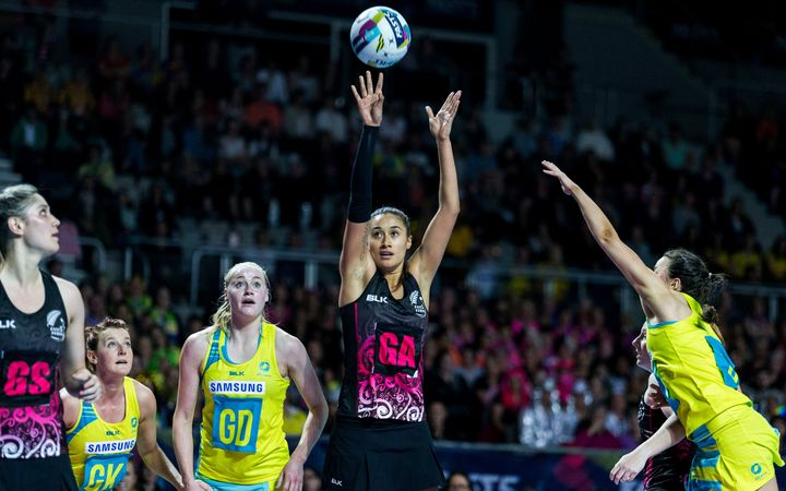 Maria Tutaia shoots during the Fast5 Netball world series match between New Zealand Silver Ferns and Australia at Hisense Arena Melbourne Australia.