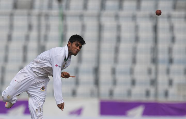 Bangladesh's Mehedi Hasan bowls during the second Test against England