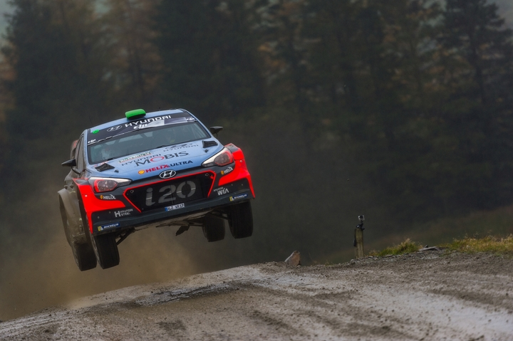 New Zealand rally driver Hayden Paddon competing at Rally Great Britain in Wales.