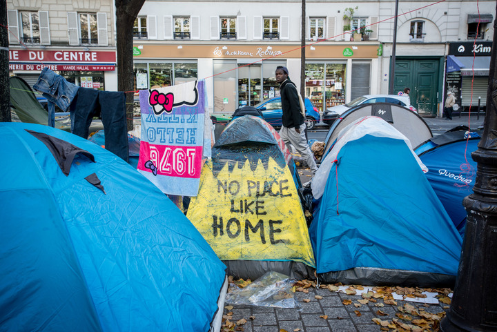 Migrants and refugees are living on the streets of northeast Paris, some of them from the dismantled Calais camp.