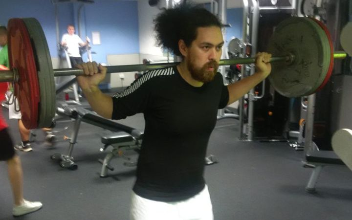 Tongan skier Kasete Skeen hits the gym.