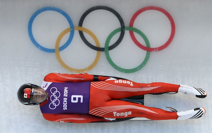 Tonga's Bruno Banani during the 2014 Winter Olympics in Sochi.
