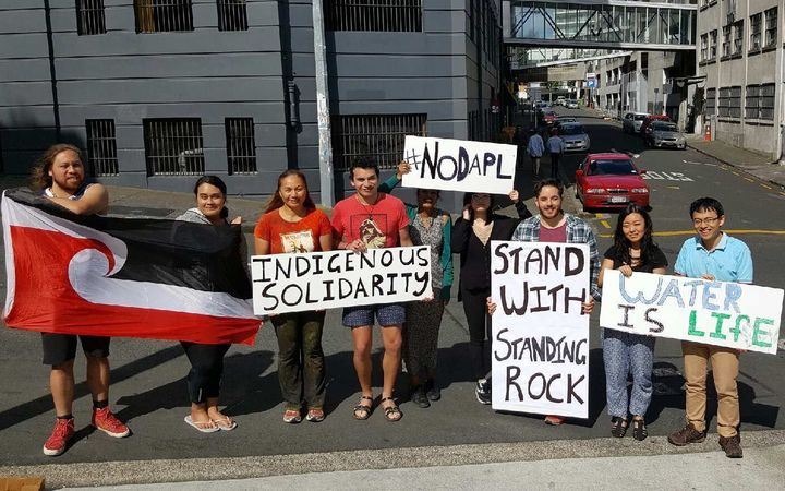 Green MP Marama Davidson and protesters show their support for the protests at Standing Rock.