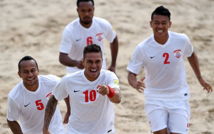 Tahiti players celebrate a goal during the 2015 Beach Soccer World Cup.