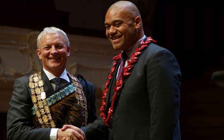 Mayor Phil Goff and councillor Efeso Collins at the Auckland Council swearing in ceremony.