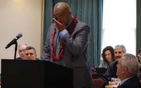 An emotional moment during Efeso Collins' maiden speech to council on Wednesday.