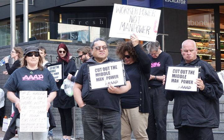 Auckland Action Against Poverty protesting against recruitment agency Manpower Services.