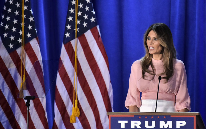 Melania Trump, the wife of Republican presidential nominee Donald Trump, speaks during a rally for her husband on November 3, 2016 in Pennsylvania.