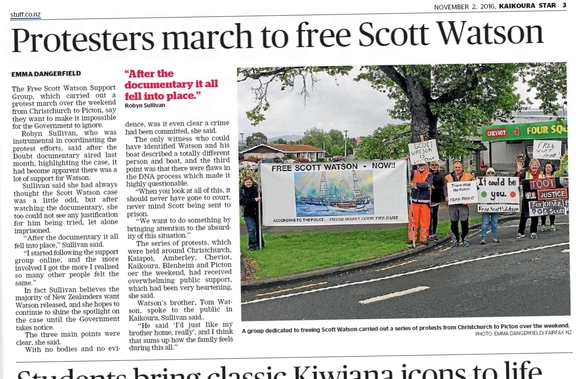 Kaikoura Star newspaper story about local protests staged in support of Scott Watson.