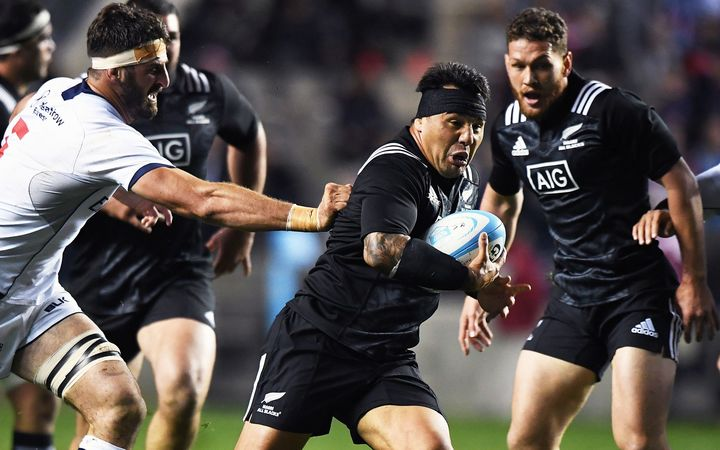 Maori All Blacks captain Ash Dixon on the charge at Soldier Field, 2016.