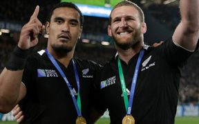 Jerome Kaino (L) and Kieran Read celebrate after winning the 2011 World Cup.
