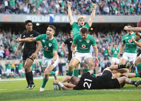Ireland's Conor Murray celebrates Robbie Henshaw's try.