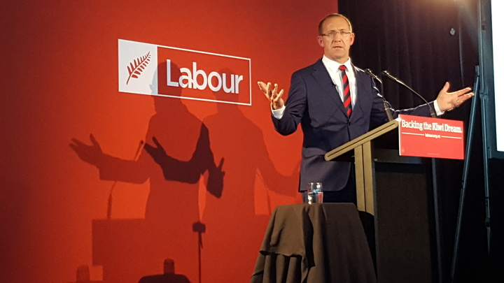 Andrew Little speaking at the party's annual conference in Auckland.