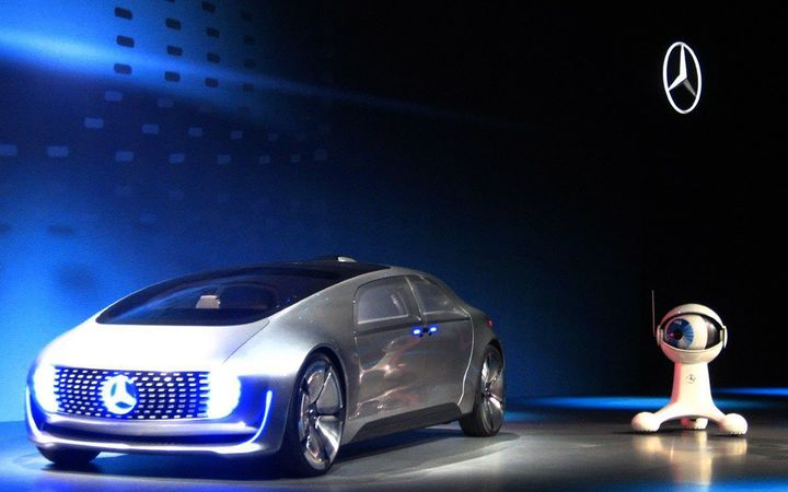 The Mercedes Benz F 015, an electric and autonomous concept car, unveiled in 2015.